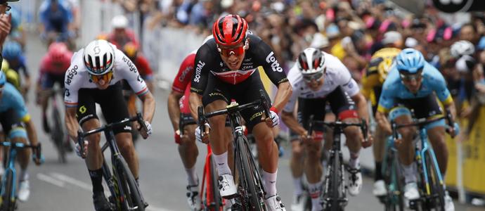 Caleb Ewan stage winner and race leader Down Under